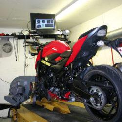 Notre banc de puissance pour le réglage précis de votre moto. Golden Bikes, votre spécialiste motos à Rebecq - magasin, atelier, banc de puissance - motos - scooters